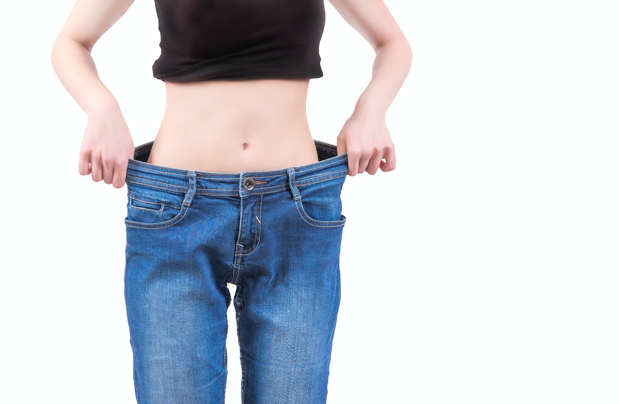 skinny girl and baggy jeans